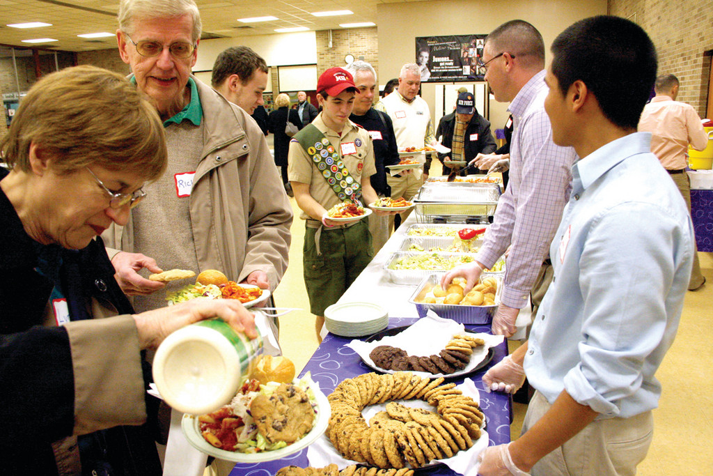 AND PASTA: Those in attendance Sunday enjoyed the cooking of Senator Whitehouse's staff. Sunday was the 114th pasta dinner the senator has hosted since being elected.