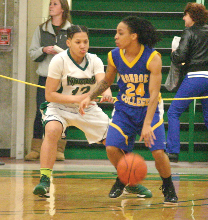 CLOSE: CCRI's Ahnyyah Jackson guards Monroe's Ly'Nasha Frazier in Sunday's region championship.