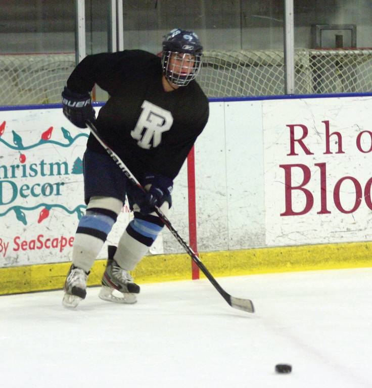 GEARING UP: Warwick's Sydney Collins awaits a pass during practice on Tuesday for the URI women's hockey team.