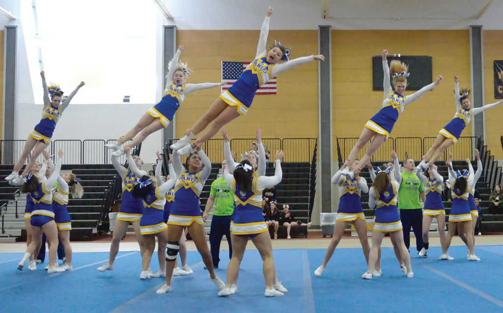 The Warwick Vets cheerleaders take to the air on their way to a 12th-place overall finish.