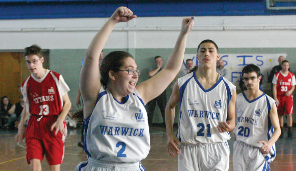 SALUTE: Vets' Becca Seamans celebrates along with the crowd after she made a shot in the second half of Wednesday's game.