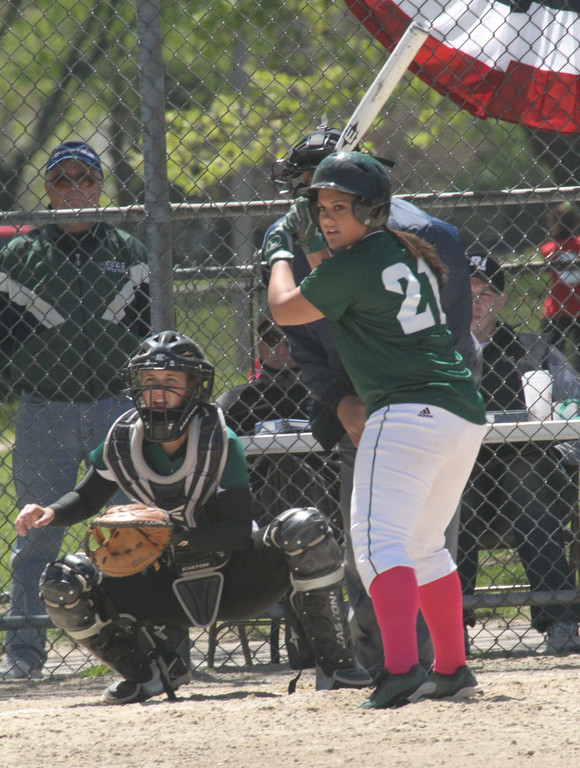 LADY KNIGHTS: Mel Iadeluca waits at the plate for a pitch.