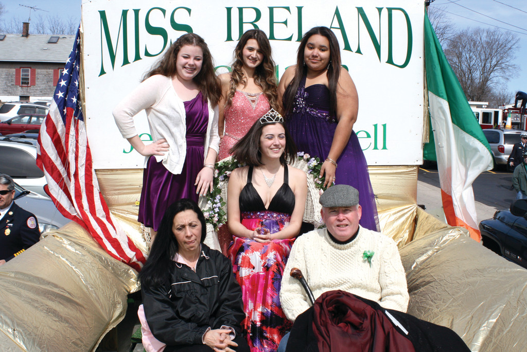 PARADE ROYALTY: Warwick Vets seniors Caitlin McDonough, Jennifer Scotti and Tiana Bassett pose with fellow senior Miss Ireland Jenna O'Connell and her parents, Anne and Jim O'Connell. Jim is a member of the Friendly Sons of St. Patrick and helped organize this year's event.