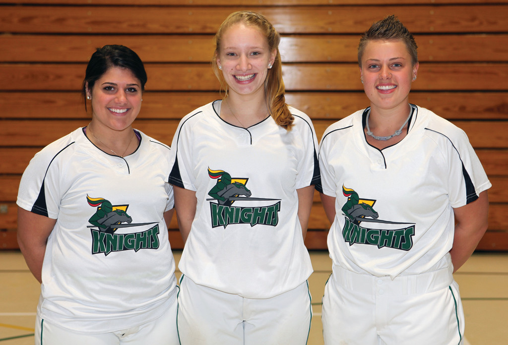 HEAD OF THE PACK: CCRI's three captains, from left, Mel Iadeluca, Liz Coburn and Isabel MarcAurele, pose for a picture.