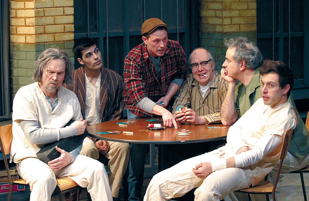 From left to right, Tom O�Donnell as Scanlon, Kevin Broccoli as Harding, Aaron Morris as Randle Patrick McMurphy, Bill Oakes as Cheswick, Chris Conte as Martini, and Tim White as Billy Bibbit in �One Flew Over the Cuckoo�s Nest� at 2nd Story Theatre through April 7.