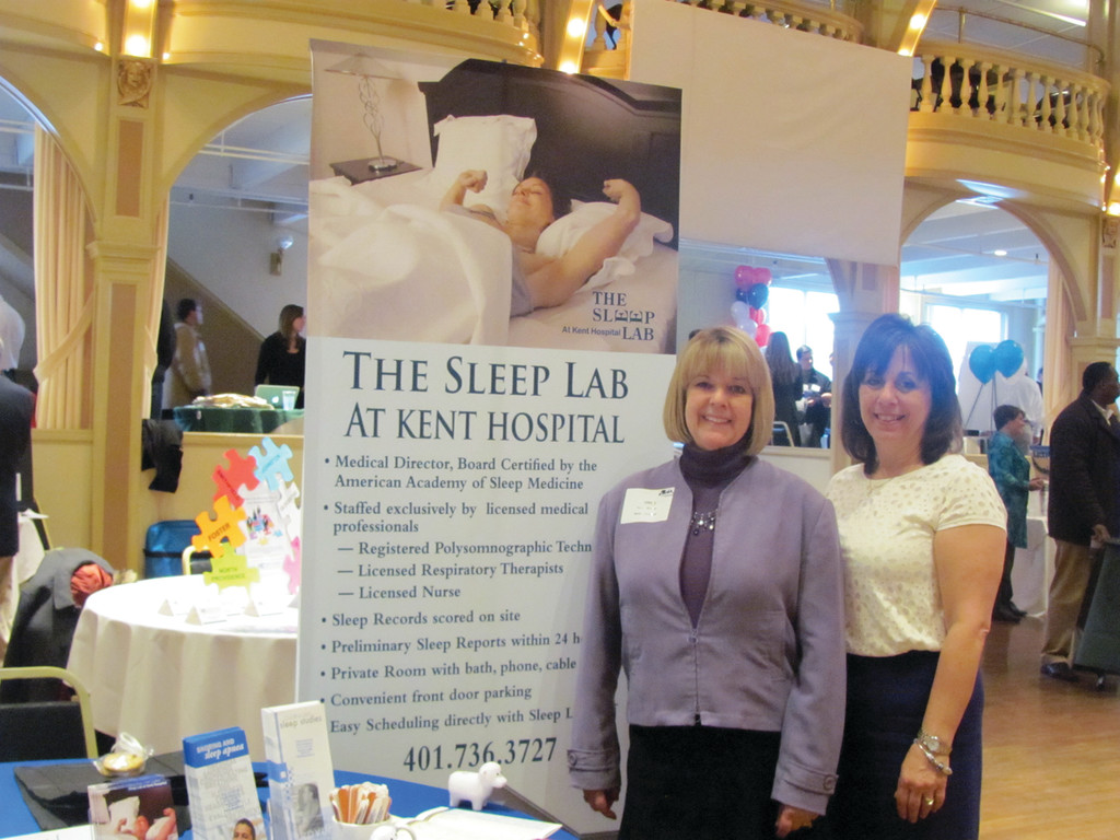 NO TIME TO REST: The Sleep Lab at Kent Hospital had a special display Tuesday during the R.I. Chambers of Commerce Business After Hours that attracted upwards of 1,000 people to Rhodes-on-the-Pawtucket in Cranston. The booth was manned by staffers Nancy Roman and Carol Messier.