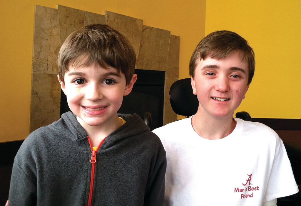 DOUGHBOY FANS: Seven-year-old Zach McMillan and 13-year-old Andrew Martin have both been diagnosed with A-T, and the first Iggy's Doughboy Dash is being held in their honor to raise money for research.