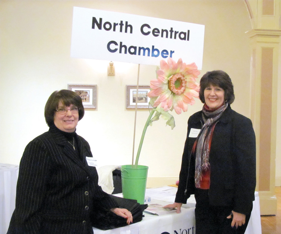 MANNING CHAMBER BOOTH: Barbara Livingstone (left) of Livingstone Photograph and Patricia A. Nolan, special assistant to the president at Rhode Island College, are members and who manned their North Central Chamber of Commerce's check-in booth at Tuesday's Statewide Business After Hours in Cranston.