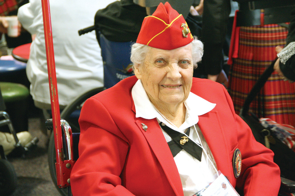 IN UNIFORM: Coventry resident Virginia Reed Dulleba was the lone woman who joined 41 men for last Saturday�s Honor Flight trip to Washington, D.C. where the World War II veterans toured a number of monuments in the nation�s capital.