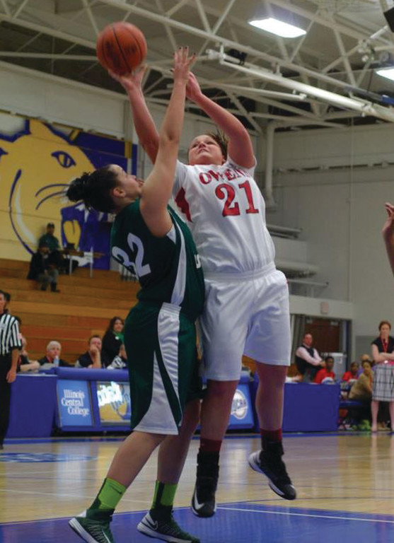 WORKING HARD: Above, Jenna Ayala plays defense in CCRI's first game of the tournament.