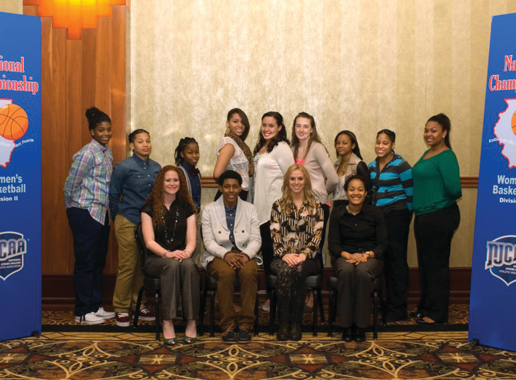 ELITE COMPANY: The CCRI women�s basketball team poses for a photo together at the NJCAA Division II national tournament prior to the banquet honoring all the qualified teams.