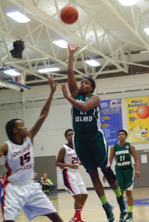 LETTING IT FLY: Nyjah Porcher goes up for a shot in the paint during CCRI's loss to Louisburg last Wednesday.