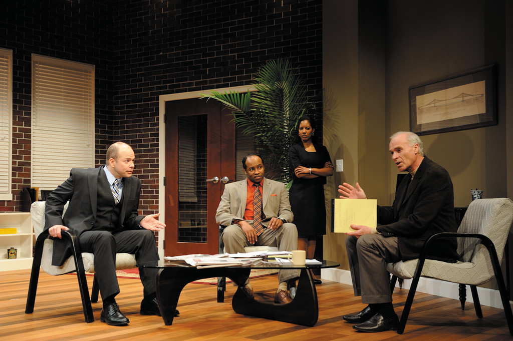 Pictured from left, Christopher Swan, Damron Russel Armstrong, Nakeisha Daniel and Sean McGuirk portray Jack Lawson, Henry Brown, Susan and Charles Strickland in the Rhode Island premiere of David Mamet's provocative play Race being presented at the new Ocean State Theatre in Warwick through April 14. For tickets call 921-6800 or visit www.OceanStateTheatre.org