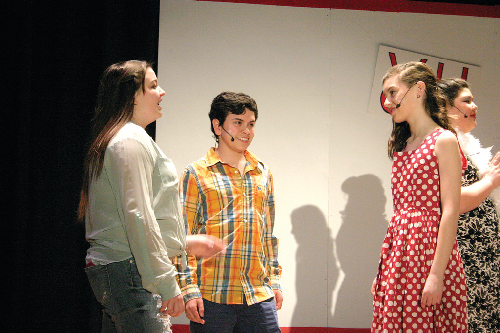 "PRACTICE MAKES PERFECT: Delta Ayres, Joe Tacco and Mary Mullane prepare for tonight and tomorrow night's performances of ""High School Musical"" at Aldrich Junior High School. Tickets are $5 and all proceeds go to the Drama Club to fund next year's musical. The show is being staged this Thursday and Friday at 7 p.m. Tickets are $5."