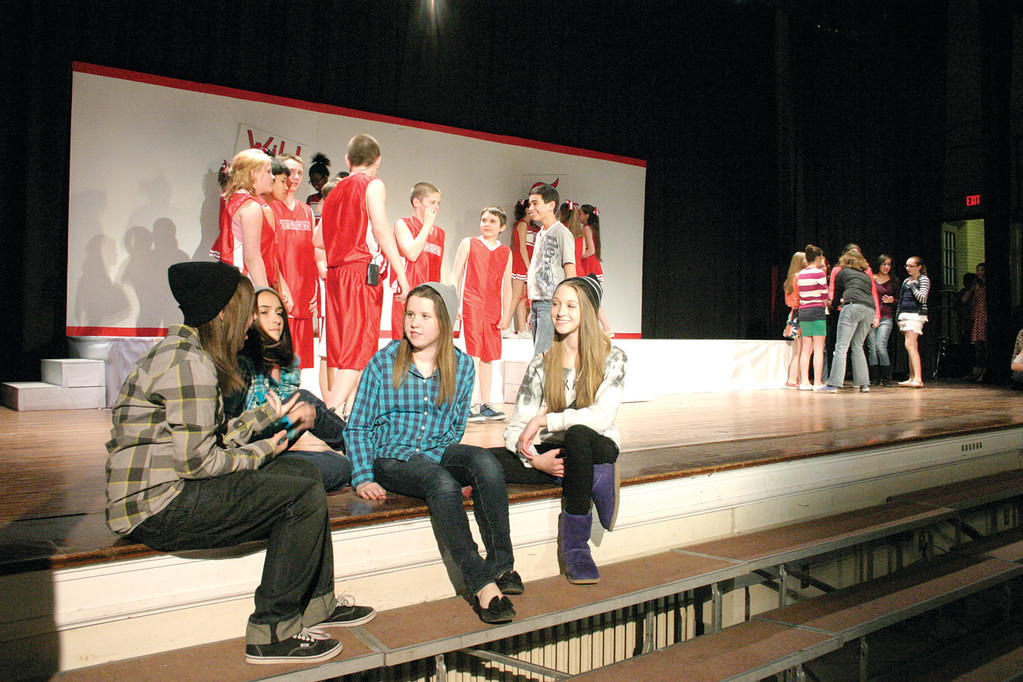 "OPENING ACT: Students in Aldrich Junior High's Drama Club represent different cliques for the opening scene of ""High School Musical."""