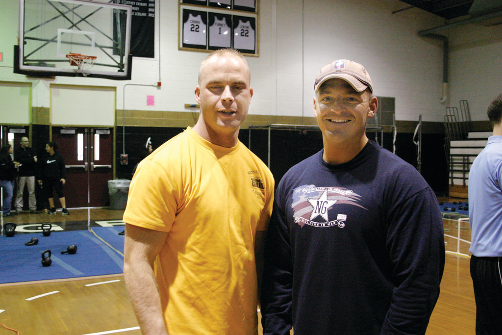 TEACHING THE BASICS: Staff Sgt. Dennis Parent and Staff Sgt. Jonathan Fregeau were two of the National Guard instructors for the Army Combative Circuit Training.