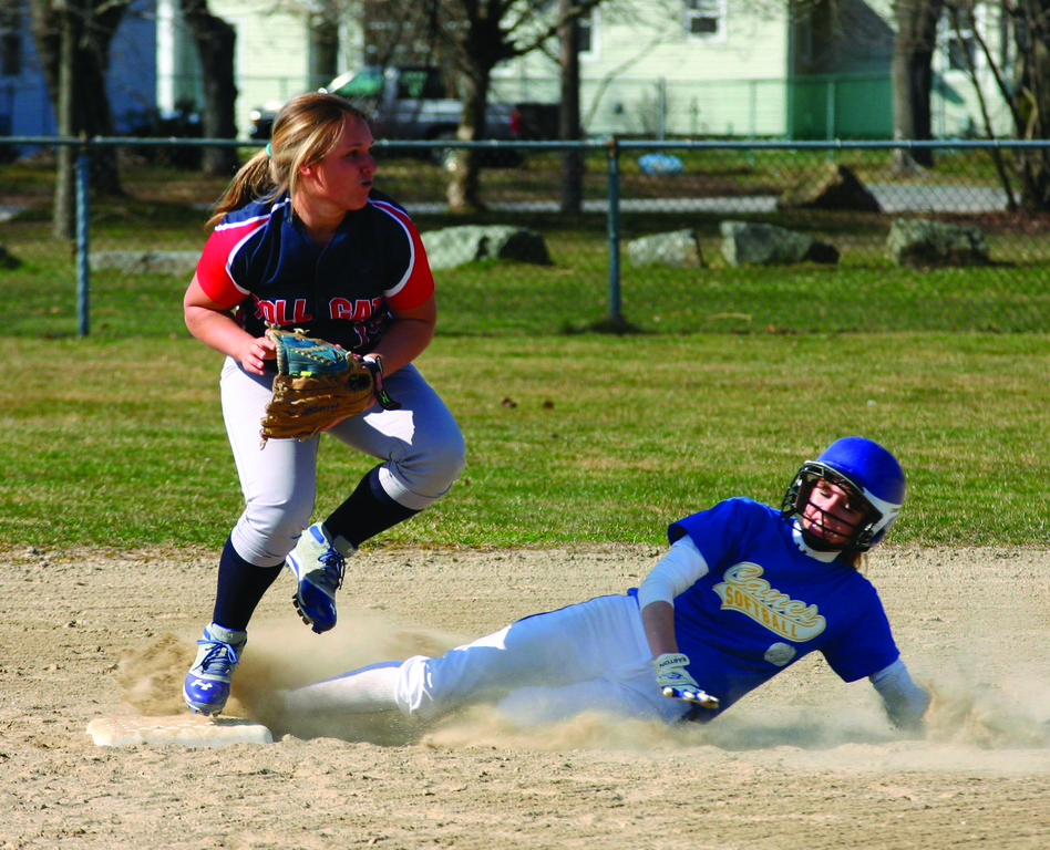 ON THE BAG: Vets' Amanda Graves slides into second base to break up a double play as Toll Gate's Ingrid Freeman looks to throw to first.