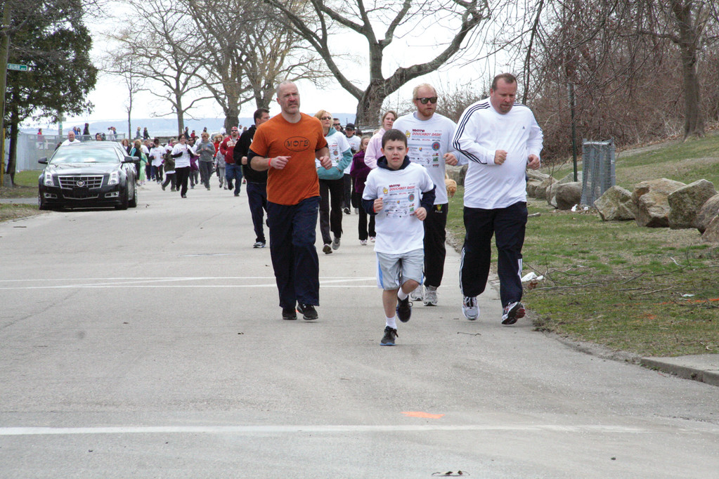 DASHING FOR DOUGHBOYS: More than 400 people ran in the first Doughboy Dash to raise money for research into treatments for the rare disease, A-T.