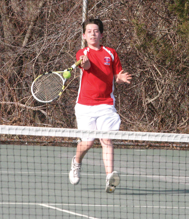 TO THE NET: Sophomore Hunter Heberg will play No. 4 singles this year for the Titans.