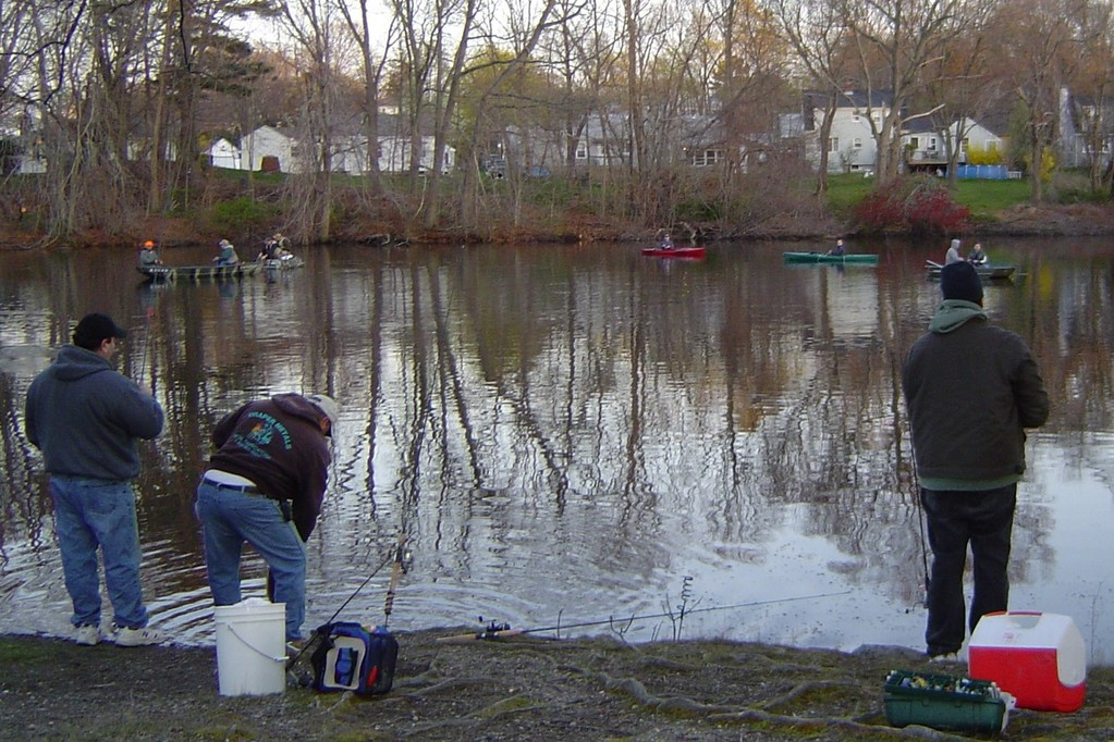 Opening Day: Last year anglers fished by boat and on the banks of Willet Avenue Pond, East Providence.  RI DEM expects over 20,000 anglers to fish at Rhode Island ponds, lakes, rivers and brooks opening day this Saturday, April 13.