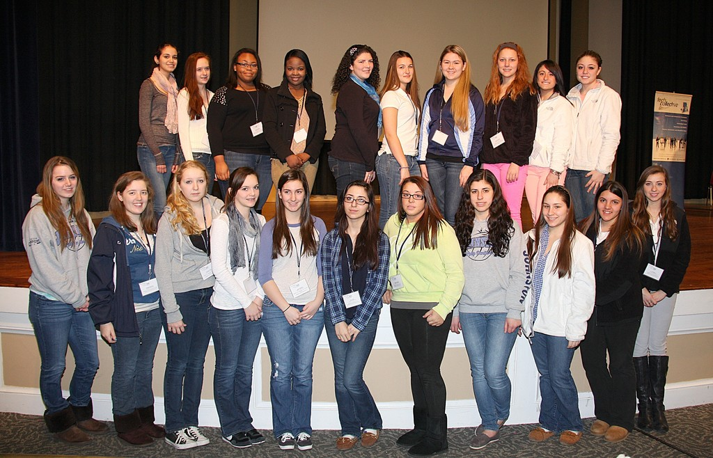 Female students from Johnston High School participate in the GRRL Tech expo at the University of Rhode Island.