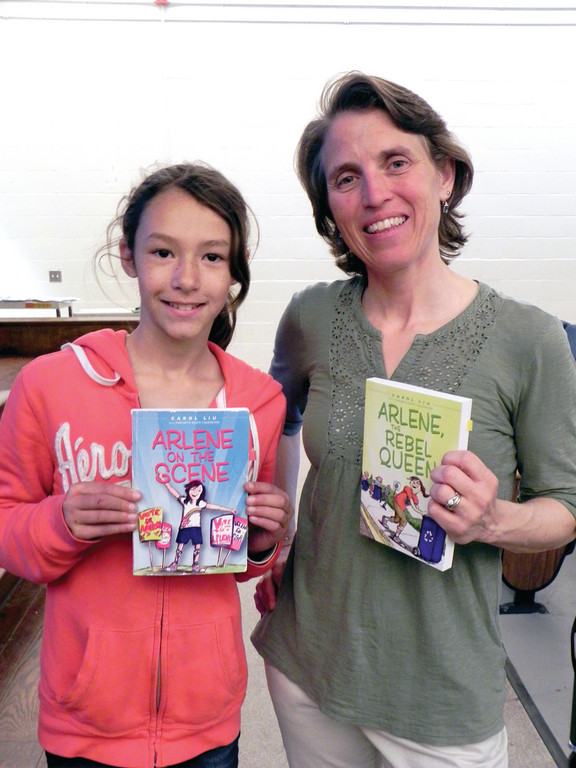 FRIENDS OF ARLENE: Sherman School fifth grader Fallon Neves was one of the kids introduced to Carol Liu and her fictional friend Arlene last week. Liu is a former Sherman student whose book, �Arlene on the Scene� has been introducing young readers to Charcot-Marie-Tooth disease and a grade-school kid who is coping with it.