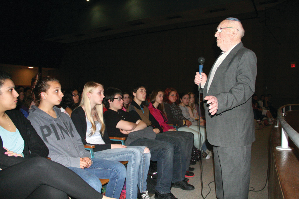THE HORROR OF AUSCHWITZ: Rabbi Baruch G. Goldstein, a survivor of the Holocaust, recently addressed students at Warwick Vererans High School