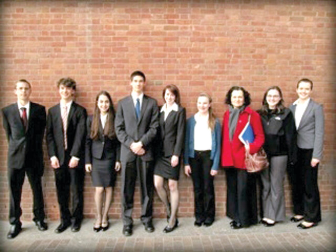 LEARNING THE LAW: The Toll Gate Mock Trial Team pictured from left are: Madeleine Anthony, Isaac Davis, Matthew Deneff, Dena Goldblatt, Abby Gregory, Szabolcz Kiss, Julia Paolino, Paige Carmichael and Coach Sharon Franco.
