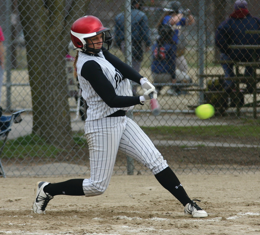 SWINGING: Katelyn Reph, pictured earlier this season, notched her 100th career hit on Thursday against Cranston East.