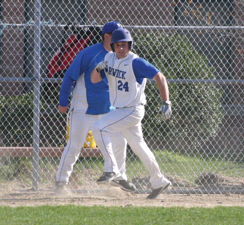 PARADE: Austin Lamaire heads home for one of Vets' 16 runs in Thursday's win over Juanita Sanchez.