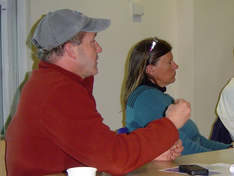 Boating talk: Rick Bellavance, president of the RI Party & Charter Boat, and Kim Hapgood of Sail Newport at SeaPlan's marine industry boating workshop held last week at Save the Bay.