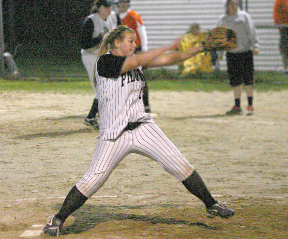 FIRING: Pilgrim's Witashnah Ellsworth delivers a pitch on Saturday night against West Warwick. The Pats beat the defending D-II runner-up 15-8.