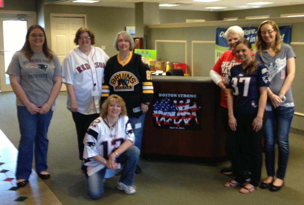 Shown at a recent dressed down Friday from left are: Kendell Sorensen, teller; Patricia Piscopio, teller; Marie Morrell (kneeling), assistant vice president; Lynne Greene, loan officer/MSR; Linda LaFleur, loan officer/MSR; Erika Kemp, receptionist; Melissa Crandall, mortgage processor.