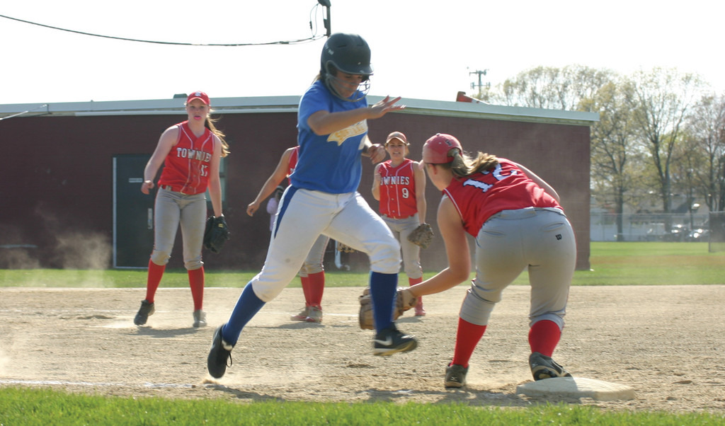 CLOSE CALL: Gabby Korlacki gets thrown out by a step at first base for the final out of Vets' game on Thursday.