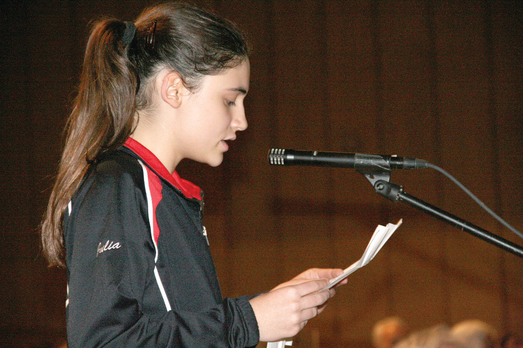 "APPEAL TO SAVE SCHOOL: Gorton Student Council President Julia French urges the commitee to keep ""historic"" Gorton open."