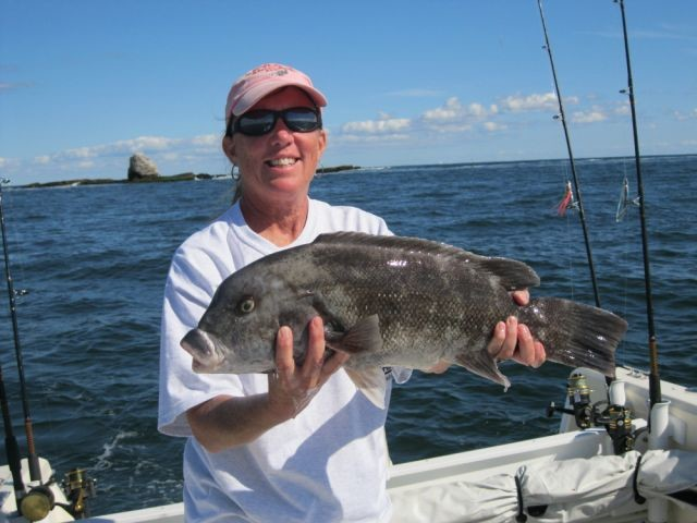 Tautog fishing is great family fun: Gisele Golembeski with a tautog she and her husband Rich caught off Narragansett near Whale Rock.