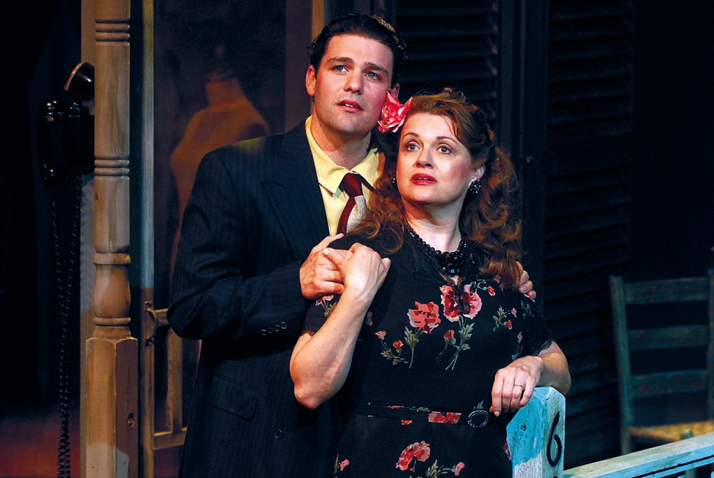 "Ara Boghigian as Alvaro and Rae Mancini as Serafina in ""The Rose Tattoo"" at 2nd Story Theatre, Warren, through May 26."