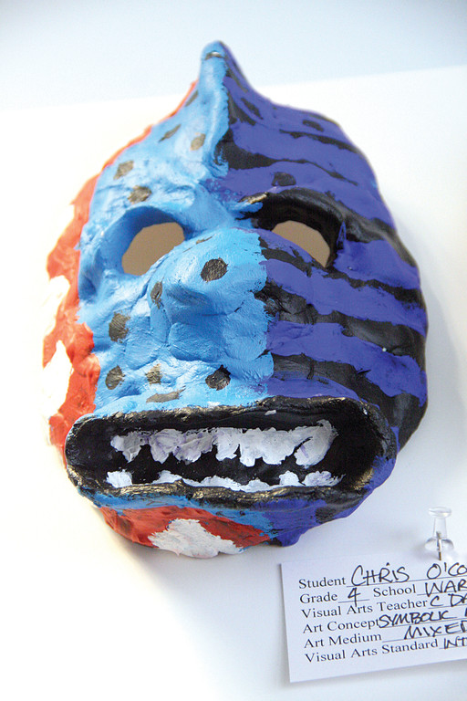 This mask created by Warwick Neck School 4th grader Chris O�Connell is one of several on display.