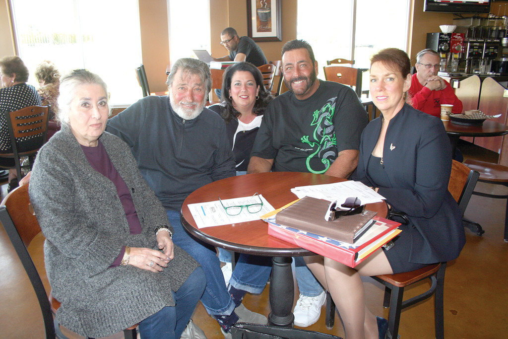 PLANNING PANEL: Meeting to discuss the upcoming fundraiser for the Providence VA Medical Center are Elly and Vinnie Palumbo, Lisa D'Ambra, Steven Quirini and Donna Russillo, chief of voluntary service for the VA.