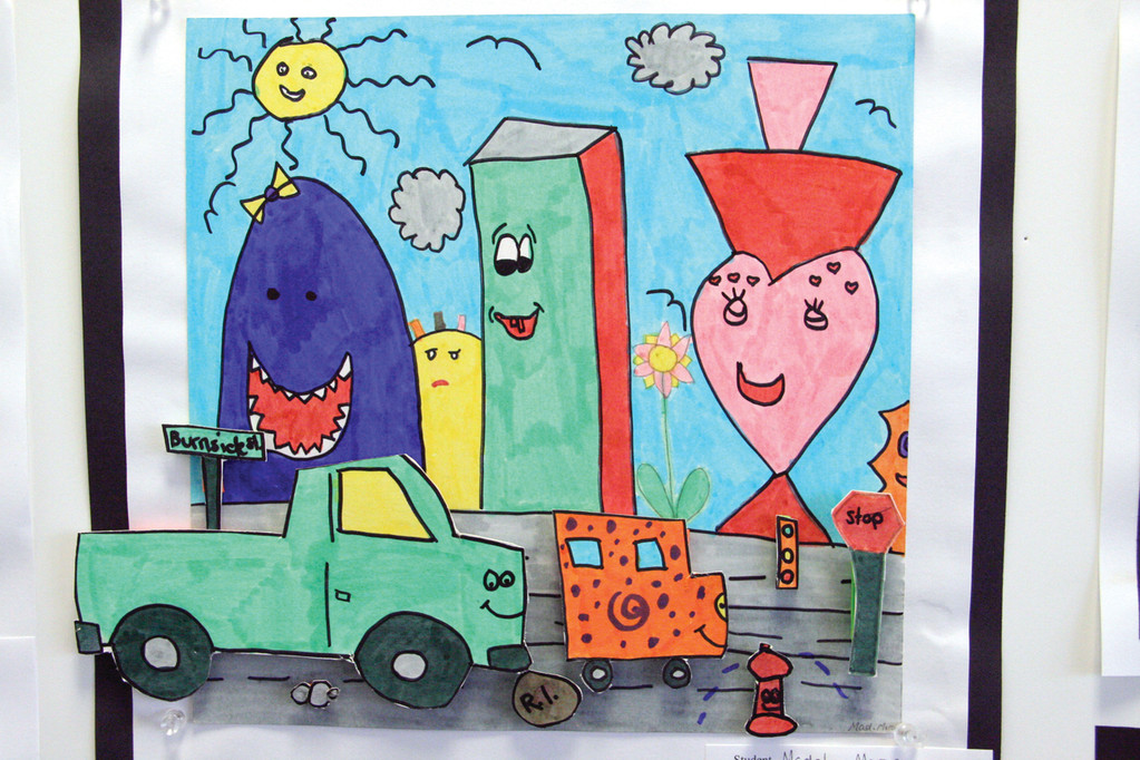 Everything, even the cars and the buildings are smiling in this work by Park School fourth grader Madalyn Moran.