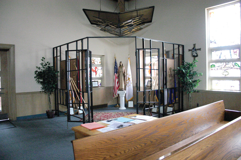 PATRIOTIC RELIGION: St. Kevin Church�s newly created shrine honoring heroes from the military, police and firefighters will be dedicated during tomorrow night�s patriotic spring concert at the church.