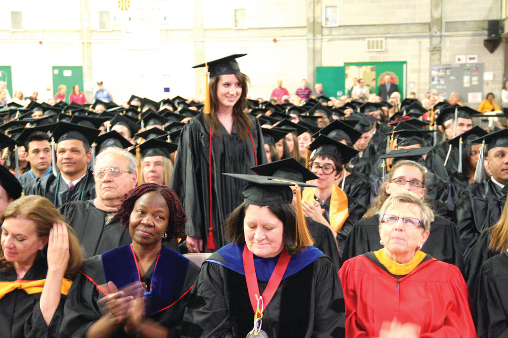 GRADUATE STANDOUT: Jordyn Payne is recognized for her achievement during CCRI commencement exercises Friday.