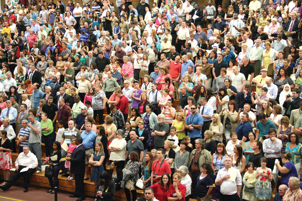 FAMILY AND FRIENDS: The bleachers in the Cullen Field House of the Knight Campus were packed for Friday�s graduation ceremony.
