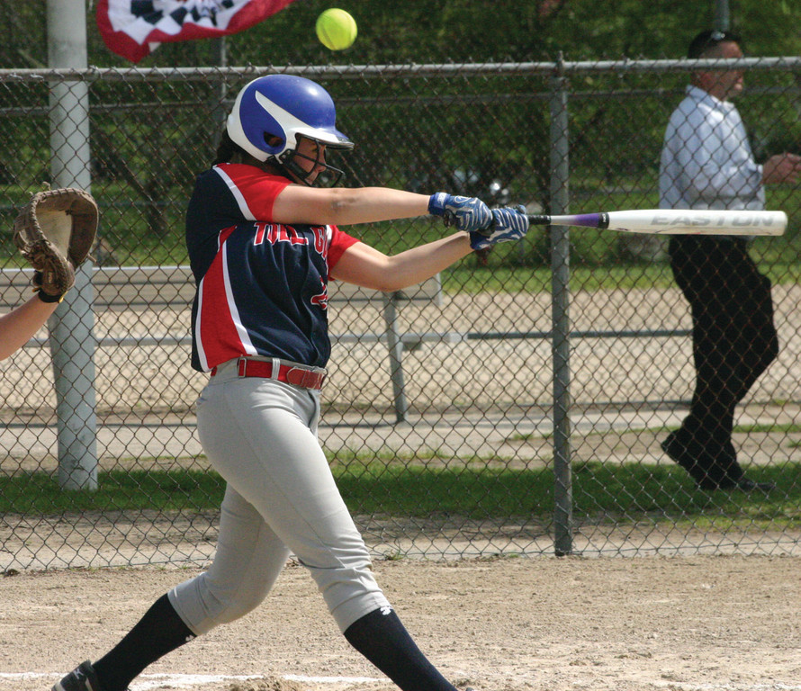 ON THE BALL: Toll Gate's Jamie Hopgood takes a big cut and fouls a ball off on Monday. The Titans left 13 runners on base and lost 5-2 to Bay View.