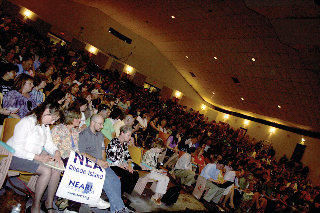 PACKED HOUSE: The Cranston West auditorium seats 600, but was not enough to house the educators attending Monday's two-hour, standing-room-only forum