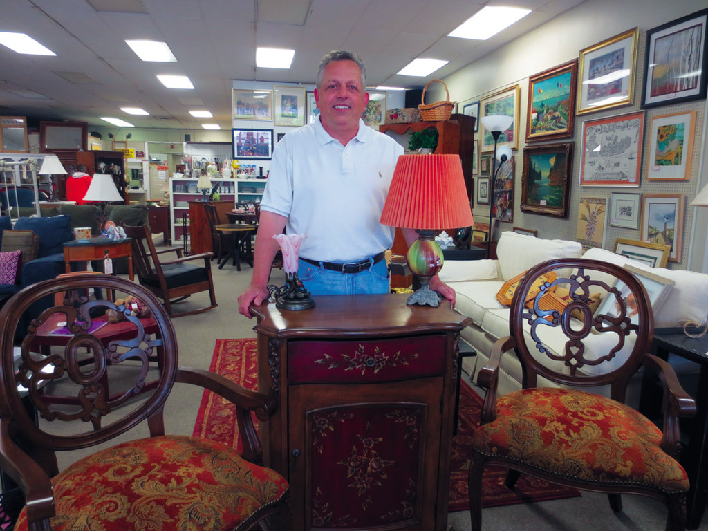 Meet John Amadio, the new owner of Home Again Consignment Shop, as he showcases these ornate and timeless chairs and painted set of drawers.