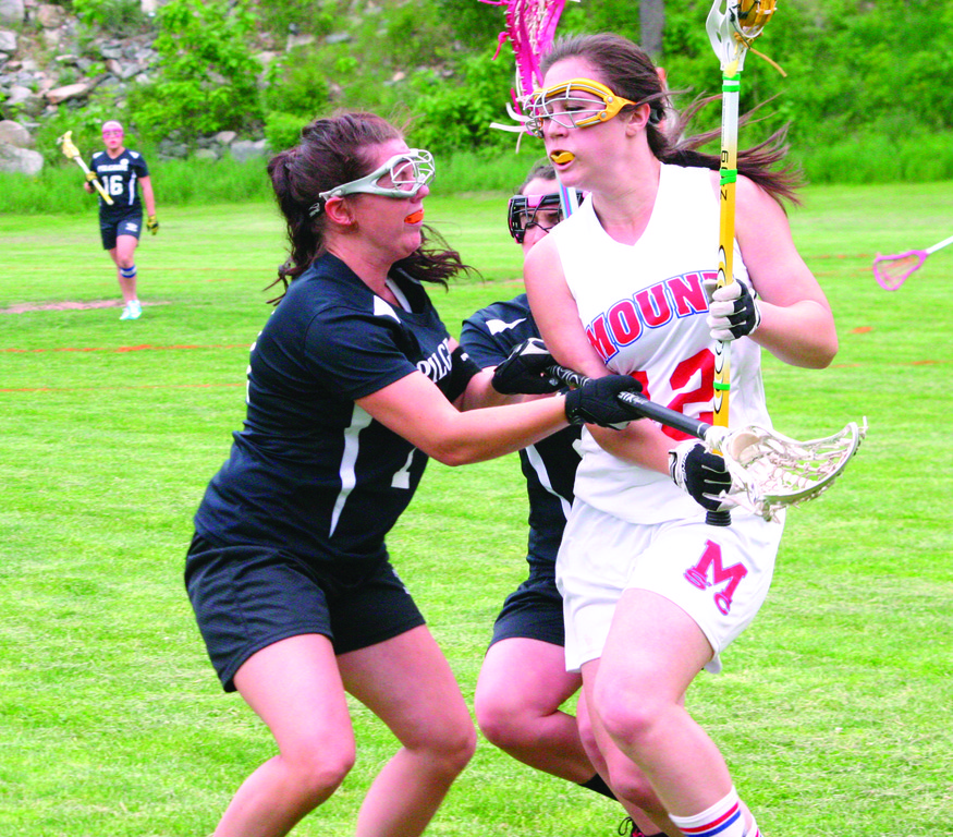 WINNING WAYS: Pilgrim's Amibeth Marks stops a Mount St. Charles player on the sidelines during the Pats' 15-6 win over the Mounties in Tuesday's D-III semifinal. Pilgrim will play Narragansett for the title.