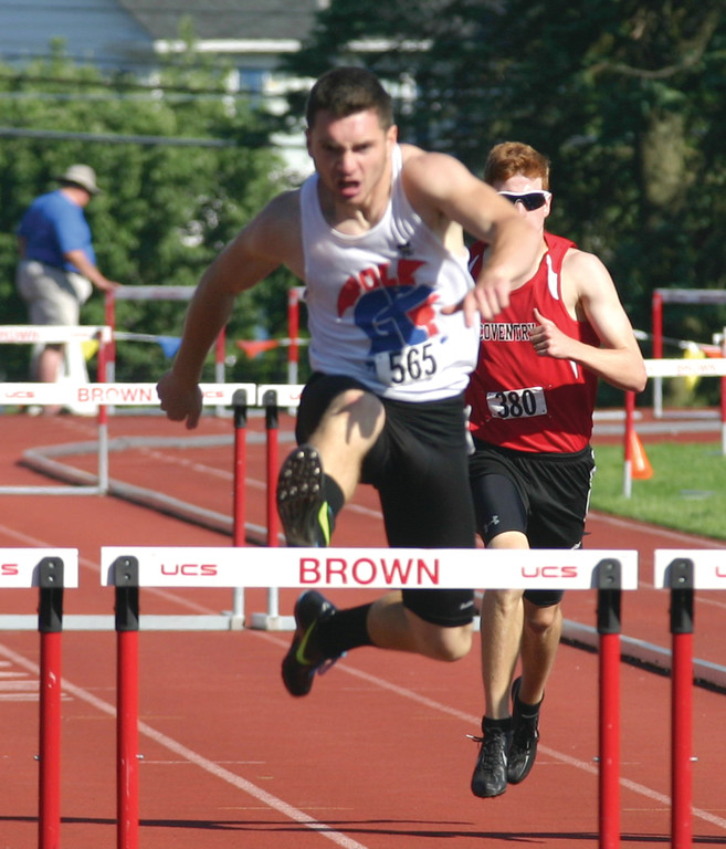 Toll Gate�s Tom Martella heads home in the 300 hurdles.