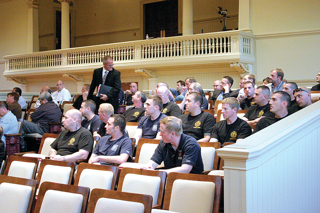 A SHOW OF FORCE: A number of Warwick firefighters showed up to support Chief Edmund Armstrong as he defended his budget request to the City Council.