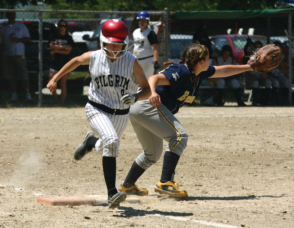 RUN IT OUT: Pilgrim�s Madison Balutowski legs out an infield single in Sunday�s game. The Pats beat Burrillville 9-4 to clinch a spot in the D-II winner�s bracket semifinals.